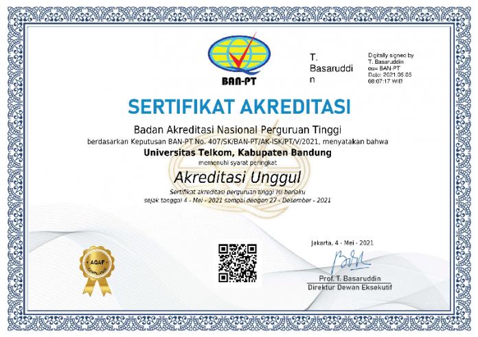 Sertifikat Akreditasi Perguruan Tinggi - Telkom University - 2021